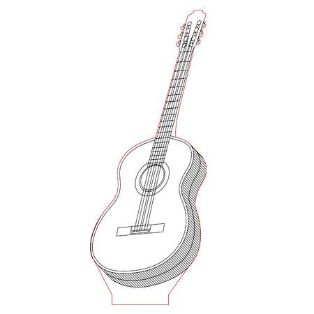 Guitar 3d Illusion Lamp Vector File For Laser And Cnc 3bee Studio In 2020 3d Illusion Lamp 3d Illusions 3d Optical Illusions
