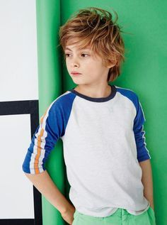 Crew boys' triple-striped three-quarter-sleeve baseball T-shirt.