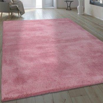 Handgefertigter Shaggy Teppich Einfarbig Teppich Altrosa Teppich Shaggy Teppich