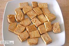 Receta de tofu firme salteado. Cómo preparar el tofu para que quede crujiente y emplearlo en otras recetas. Con fotografías paso paso. Recetas ve...