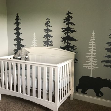 Wall Decal Kids Nursery Pine Tree Wall Decals With Large Bear Wall Decal Wall Mural Stickers Nursery Tree Art Nature Wall Decals Kids Nursery Wall Murals, Nursery Paintings, Nursery Decals, Kids Wall Decals, Tree Wall Decals, Nursery Trees, Tree Paintings, Wall Stickers, Vinyl Decals