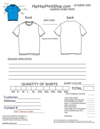 T Shirt Order Form Template Order Form Template Order Form Template Free Order Form