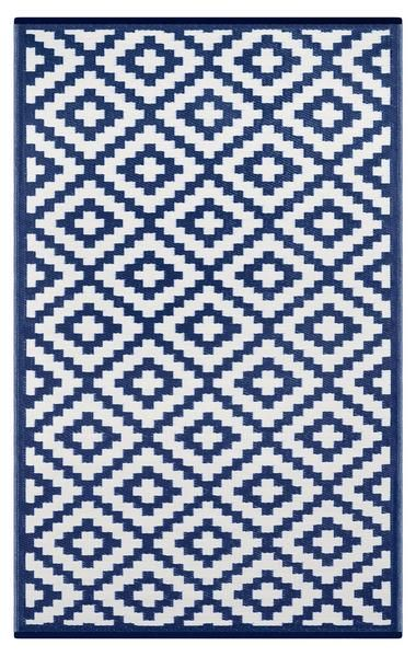 Nirvana Outdoor Recycled Plastic Rug Navy Blue White Blue And