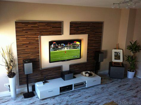 Wohnzimmer tv wand selber bauen  Wohnwand Front doityourself - moderner wohnzimmerschrank mit glastüren und led beleuchtung