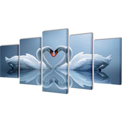 Set of 5 Swan Canvas Prints Framed Wall Art Decor Painting 200x100cm Living Room