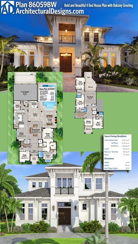 Plan 86059bw Bold And Beautiful With Second Floor Balconies Florida House Plans Philippines House Design House Plans