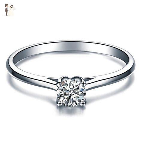 14K Womens White Gold .25 ct Diamond Heart Engagement Wedding Promise Fancy Ring