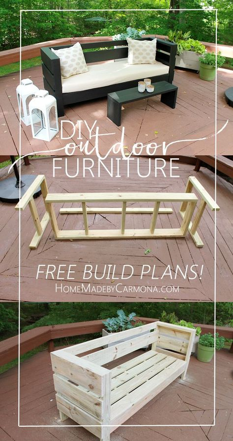 Learn how to easily build your own Outdoor Sofa and Coffee Table. Two of these, with open sides a corner table, and a coffee table, with a glazed penny top.