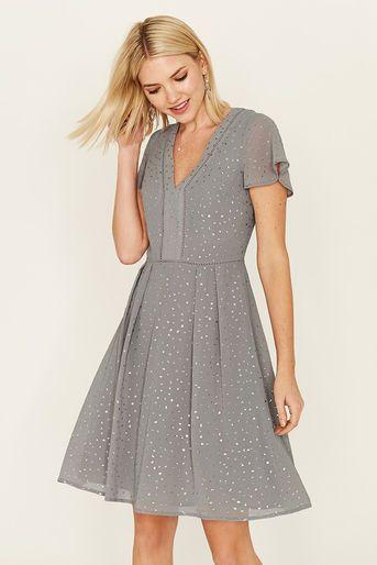 Oasis Long Glitter Spot Dress Pale Grey Spotted Dress Dresses