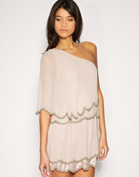ASOS One Shoulder Dress with Scalloped Hem and Bead Embellishment