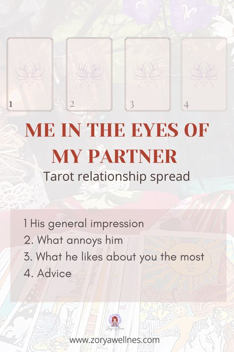 This spread allows to clearly understand how the partner sees his other half and how they feel in the relationship. #tarotspread #tarot #tarotcards #tarotreading #tarotreading #tarotreadersofinstagram