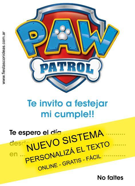 Tarjeta De Cumpleaños De Paw Patrol Invitaciones De