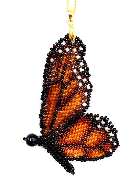 Handmade beaded monarch butterfly pendant with by Gemsplusleather, $59.00