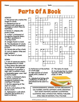 Parts Of A Book Crossword Worksheet Parts Of A Book Fun Library Activities School Library Lessons