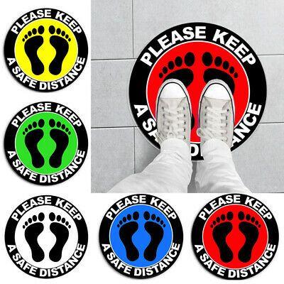 Matt Laminated Set of 4 /& 1 shop floor stickers Social Distancing Floor Decals