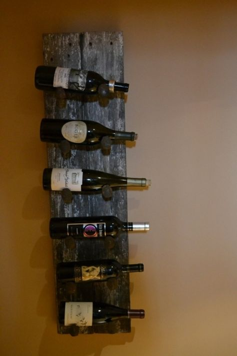 Barn Wood Wine Rack Made From Old Beadboard And Railroad Spikes This Holds Up To 6 Bottleakes A Beautiful Statement P