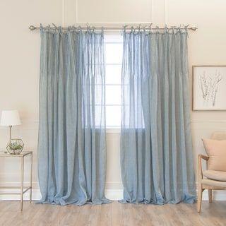Aurora Home Tie Top Pinch Pleat Faux Pippin Linen 84 Curtain