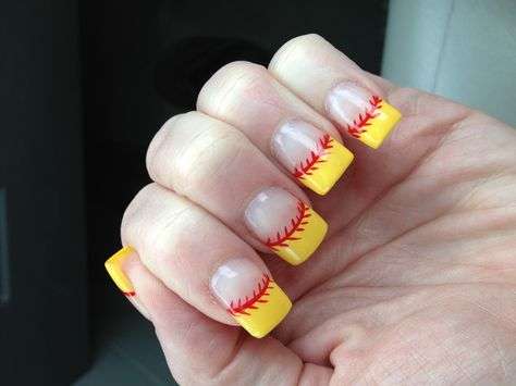 Softball nails ~ for all the softball mom's out there!