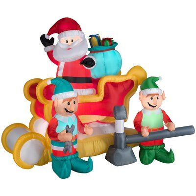 The Holiday Aisle Animated Santa Tinkering Sleigh Scene Christmas  Figurine