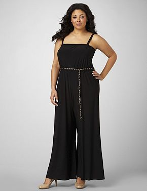A retro-inspired style, this jumpsuit has an attached, chain and fabric belt emphasizing the waist. Elastic stretch neckline with removable and adjustable straps for optional strapless wear. High, stretch high waist and wide, draping pant leg. Jacket not included. Catherines jumpsuits are designed for the plus size woman to guarantee a flattering fit. sonsi.com