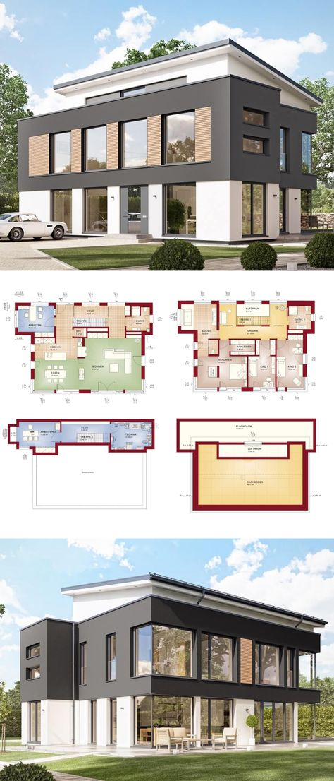 Moderne Stadtvilla Im Bauhausstil Mit Klinker Fassade U0026 Flachdach  Architektur   Einfamilienhaus Grundriss Haus Evolution 154 V9 Bien Zenker  Fertighu2026