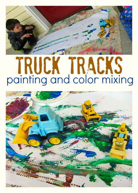 This simple truck tracks painting is a fun idea for kids in preschool and kindergarten. This simple truck tracks painting is a fun idea for kid Toddler Art, Toddler Crafts, Crafts For Kids, Art Crafts, Toddler Activities, Preschool Activities, Preschool Kindergarten, Transportation Theme Preschool, Construction Theme Preschool