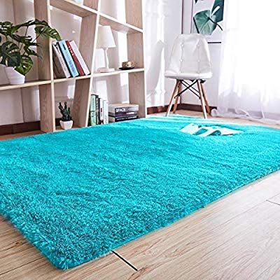 Blue Noahas Super Soft Modern Shag Area Rugs Fluffy Living Room Carpet Comfy Bedroom Home Decorate Floor Kids Playing Mat 3 x 5 Feets