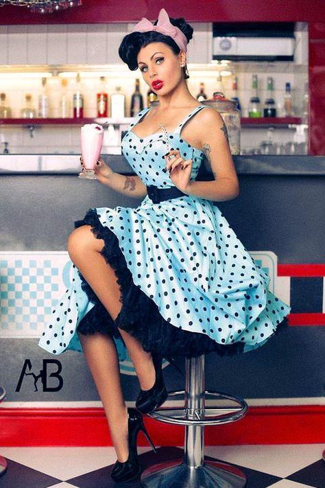 pin up girl milkshake * pin up girl milkshake Looks Rockabilly, Mode Rockabilly, Rockabilly Outfits, Rockabilly Fashion, Retro Fashion, Vintage Fashion, Pin Up Fashion, Pin Up Vintage, Retro Pin Up