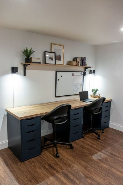 Diy Office Desk, Home Office Setup, Guest Room Office, Home Office Space, Home Office Desks, Office With Two Desks, Blue Office Decor, Ikea Office, Bureau Alex Ikea
