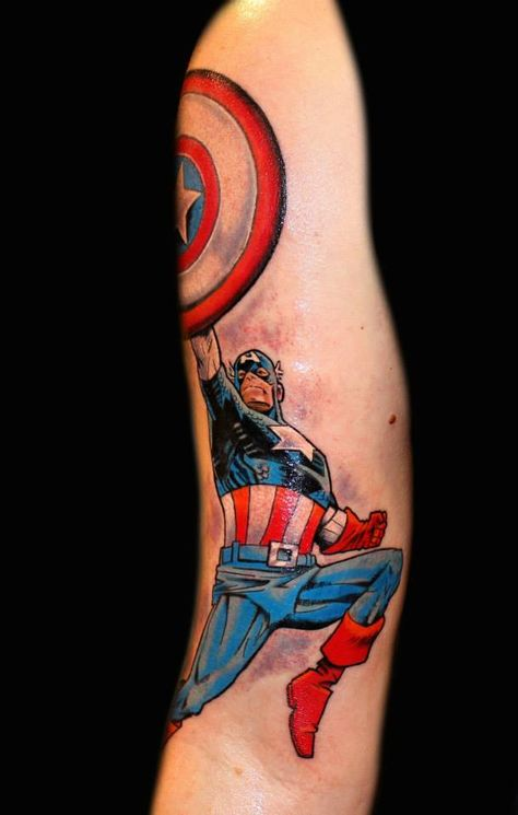 Captain America shield tattoo by Chris 51 of Area 51 Tattoo in Springfield, OR & Epic Ink on A&E