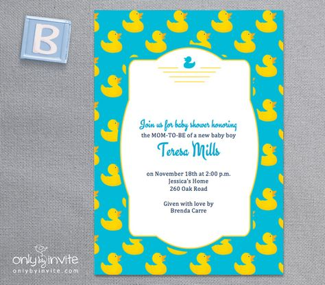 Free Printable rubber ducky baby shower invitation template Free - free baby shower invitation template