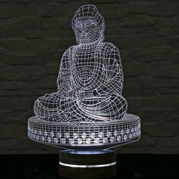 Buddha Shape 3d Led Lamp Buddha Art Buddha Calming Light Acrylic Lamp Yoga Art Office Decor Artistic Lamp Table Light Yoga Art 3d Led Lamp Buddha Art