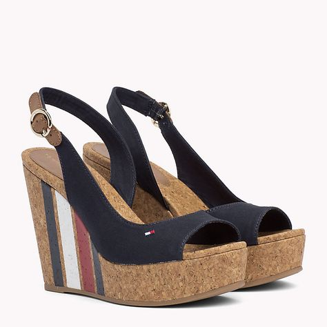 f29679fe3d25b7 Signature Stripe Wedge Sandals