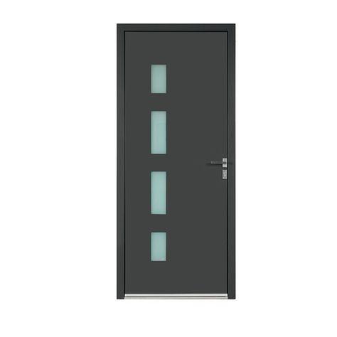 porte d'entrée aluminium amélia gris 90 x h.215 cm poussant droit