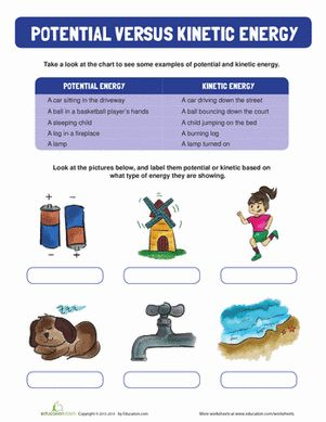 Teach Your Child The Difference Between Potential And Kinetic Energy With This Introductory Worksheet