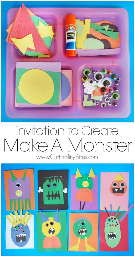 Preschool Crafts for Kids Invitation to Create: Make A Monster. Open ended, creative, quick and easy kids paper Halloween craft. Great for color and shape recognition. Perfect for toddlers, preschoolers, and elementary. Halloween Class Party, Halloween Themes, Paper Halloween, Halloween Week, Halloween Crafts For Kids To Make, Halloween Labels, Halloween Stuff, Halloween Pumpkins, Halloween Costumes