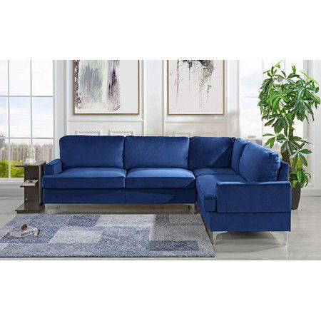 Velvet 101 1 Inch Sectional Sofa Classic Living Room L Shape Couch Grey Walmart Com Blue Furniture Living Room Classic Living Room Couches Living Room