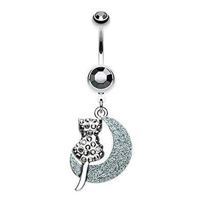 WildKlass Jewelry Turquoise Slab Dreamcatcher 316L Surgical Steel Belly Button Ring