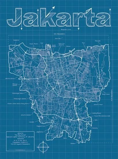 Jakarta Artistic Blueprint Map Posters Christopher Estes Allposters Com Map Art Print Map Art City Map Art