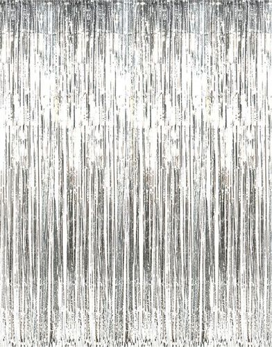 shiny silver foil fringe door or window