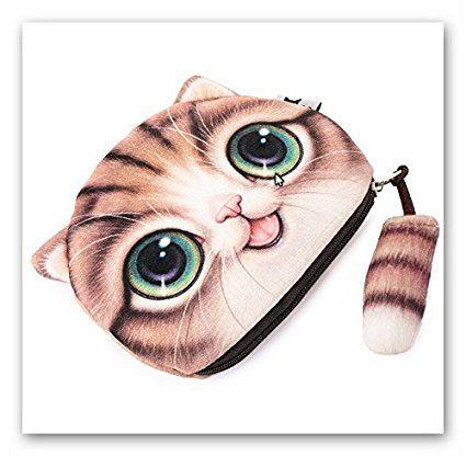 Flauschiger Geldbeutel für junge Frauen /& Mädchen mit süßem Katzenmotiv