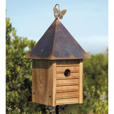 Heartwood Homestead Solid Mahogany With Copper Roof 16 In X 8 In X 8 In Birdhouse Birdhouses Wooden Bird Houses Bird House Bird House Plans