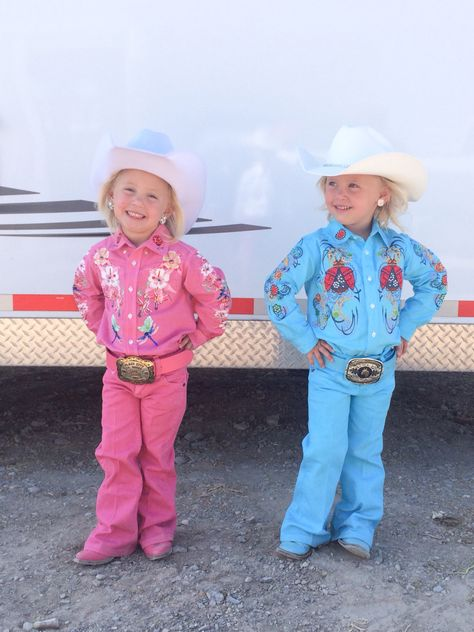 Pearl + Perri are wearing their very first Kristi Q. Originals outfit with professional pants and boots dyed by Rodeo Ink.