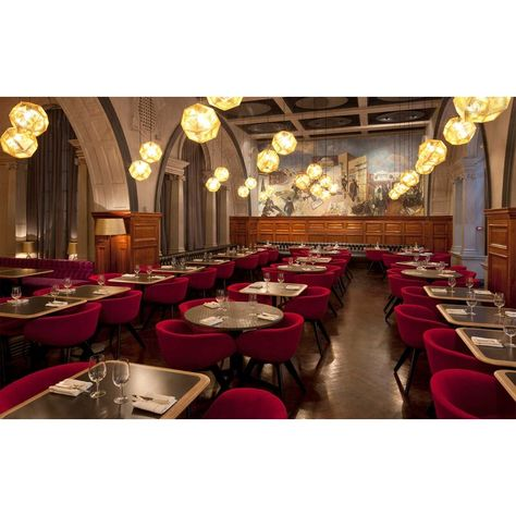 The interior design of the restaurant at the Royal Academy of Arts in London has been completed by British designer Tom Dixon. in News Design. Restaurant Design Vintage, Red Restaurant, Restaurant Interior Design, Restaurant Chairs, Vintage Design, Luxury Interior Design, Restaurant Interiors, Restaurant Layout, Interior Ideas