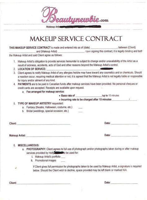 Hair Stylist \ Makeup Artist Bridal Agreement Contract Template - artist agreement contract