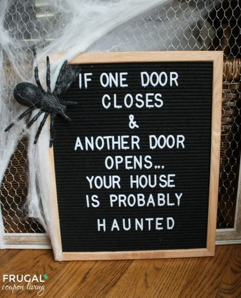 Shocktails Bottle Labels Halloween Felt Board Quote - If One Door Closes and Another Door Opens. Your House is Probably Haunted!Halloween Felt Board Quote - If One Door Closes and Another Door Opens. Your House is Probably Haunted! Word Board, Quote Board, Message Board, Felt Letter Board, Felt Letters, Felt Boards, Bottle Labels, Drink Labels, Funny Signs