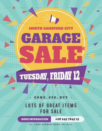 Large Garage Sale Flyer Template Sale Flyer Flyer Template Garage Sales