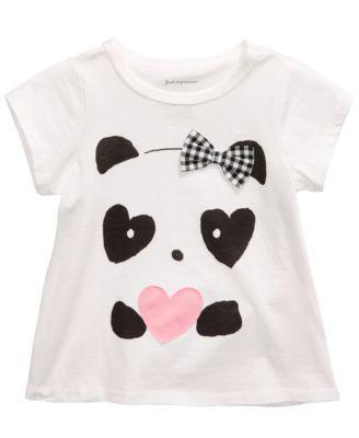Custom Baby /& Toddler T-Shirt Panda Baby Girl Bow Pink Cotton Boy Girl Clothes