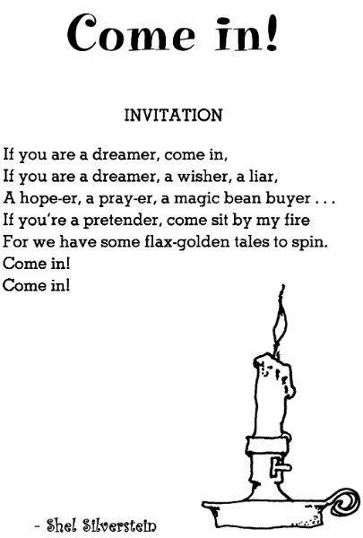 Shel Silverstein Invitation Poster Have Always Loved Him Want The Candle As Next Tattoo Just In 2020 Shel Silverstein Silverstein Poems Belly Band Invitation
