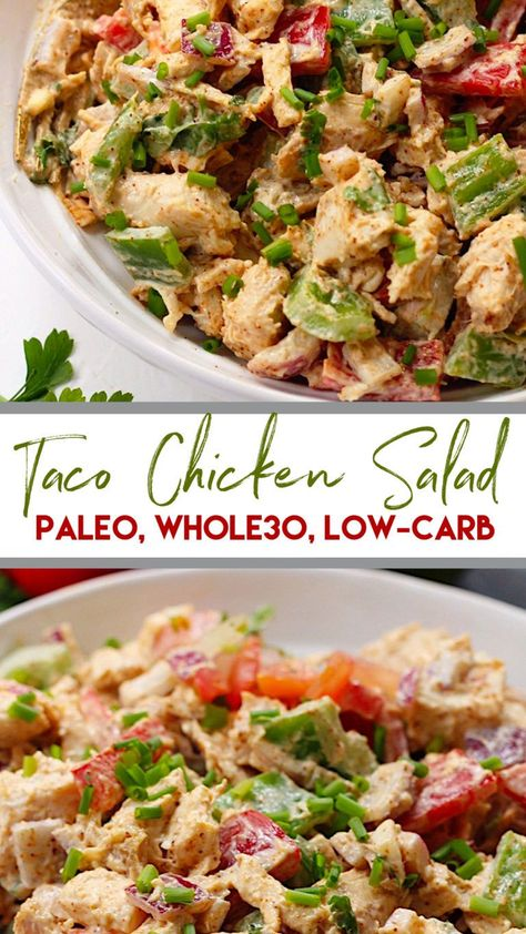 This easy taco chicken salad is a family friendly paleo reci.- This easy taco chicken salad is a family friendly paleo recipe that only takes 15 minutes to whip together. No cooking needed! Its a great salad for meal prep or side dish for any event! Whole30 Chicken Salad, Chicken Tacos, Chicken Salads, Avocado Chicken, Chipotle Chicken, Cooked Chicken, Bbq Chicken, Buffalo Chicken, Salades Taco